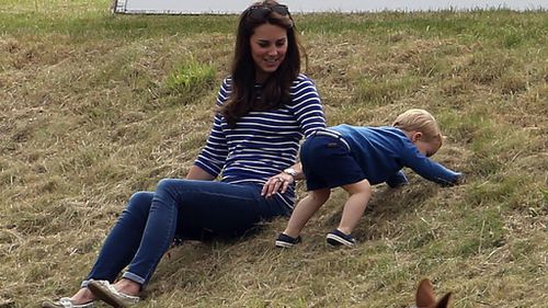 The toddler stole the spotlight while his mother, just six weeks after giving birth to Princess Charlotte, sat nearby. (AAP)