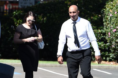 Amin Zraika, (right), and April Barber return during a break in proceedings at the Supreme Court in Sydney in April last year. (AAP)