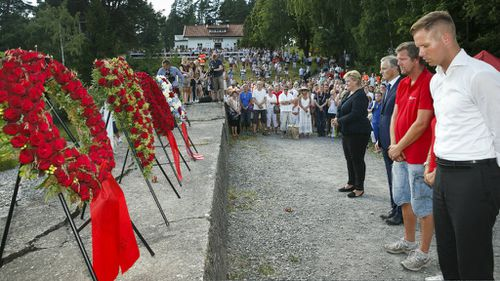 Norwegian Prime Minister Erna Solberg attends a memorial for the victims of Anders Breivik's 2011 shooting rampage. (Getty)