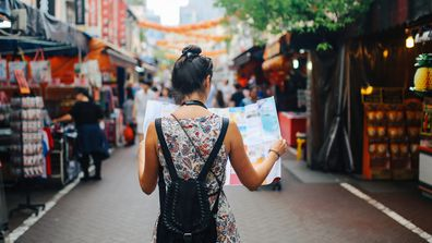 Woman travelling in Singapore