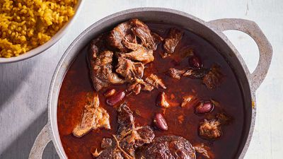"""Recipe: <a href=""""http://kitchen.nine.com.au/2017/09/26/15/02/dan-churchills-chilli-beef-shin-with-turmeric-brown-rice-and-cucumber-pickle"""" target=""""_top"""">Dan Churchill's chilli beef shin with turmeric brown rice and cucumber pickle</a><br /> <br /> More: <a href=""""http://kitchen.nine.com.au/2016/06/06/20/54/easy-does-it-with-slowcooked-meals"""" target=""""_top"""">slow cooked recipes</a>"""