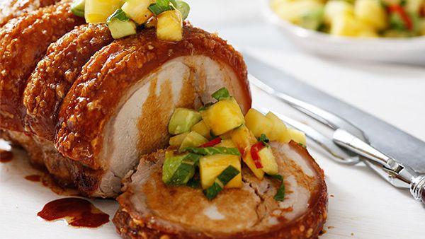Roast pork with pineapple chilli salsa