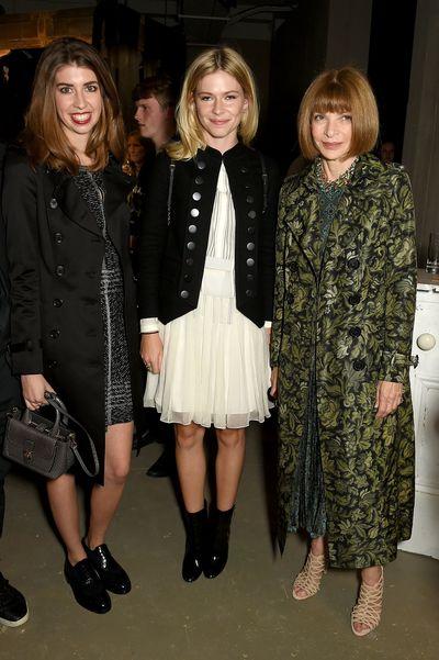 Lara Zak, Ellie Wintour and Anna Wintour at Burberry, autumn/winter '16, London Fashion Week