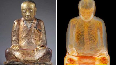 "<p _tmplitem=""7"">CT scans of a Buddha-like statue estimated to have originated in the 11th or 12th century have revealed a mummified monk inside.</p><p _tmplitem=""7""> The Chinese statue, made of gold-painted papier-mâché, was suspected to contain human remains, but researchers were surprised to find that the organs had been removed.</p><p _tmplitem=""7""> The skeleton inside is believed to be that of Liuquan, a Buddhist master who lived around 1100 AD and belonged to the Chinese Meditation School, according to expert Erik Bruijin, who led the study.</p><p _tmplitem=""7""> Drents Museum carried out the studies at Meander Medical Centre in the Netherlands, with gastrointestinal specialist Dr Raynald Vermeijden taking samples of material from the abdominal and thoracic cavities. </p><p _tmplitem=""7""> Rolls of paper with as-yet-undeciphered Chinese characters written on them were discovered where the organs should have been.</p><p _tmplitem=""7""> Experts are now speculating that Liuquan may have self-mummified, a process that saw monks undergo some 2000 days of preparation before allowing themselves to be entombed alive.</p>"