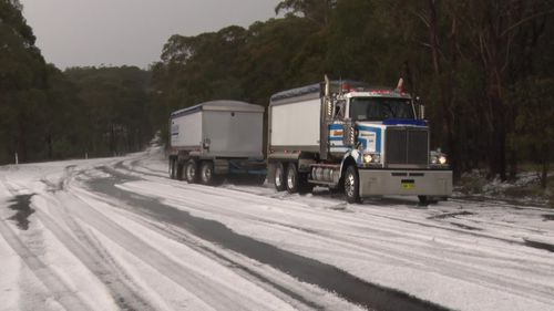 White covers the road in Mt Victoria in the Blue Mountains.