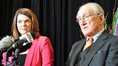 In later life, Fraser was highly critical of the direction and leadership of the Coalition. Malcolm Fraser and Sarah Hanson-Young speak at a public forum on asylum seeker policy in Adelaide on Saturday, July 6, 2013. (AAP)