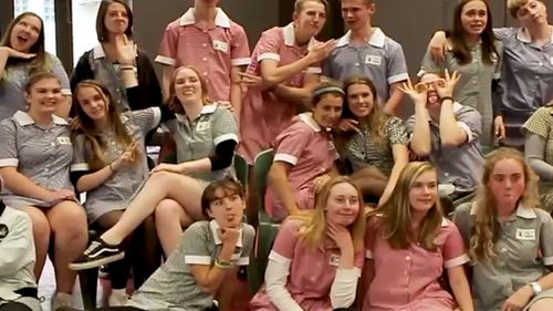 A group of school students featured in the 'Do It In A Dress' video.