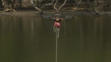 Previously hard to reach areas and coastlines where the surf is rough can now also be accessed by a specially adapted drone fitted with a hose.