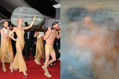 Lady Gaga has arrived in an alien pod. Yes, that really is her inside.