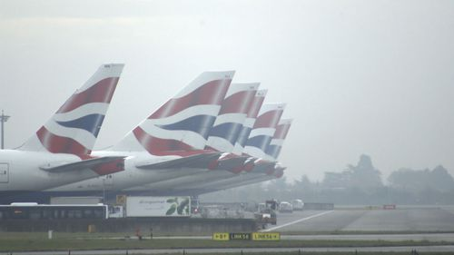 British Airways jetliners stand idle at Heathrow Airport in England. (AAP - stock)
