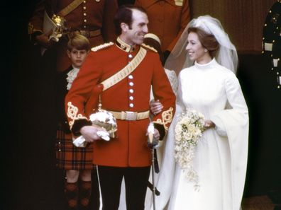 Captain Mark Phillips and Princess Anne on their wedding day