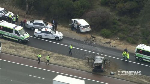 The Toyota Kluger turned the wrong way down the Cedric St on-ramp. Picture: 9NEWS