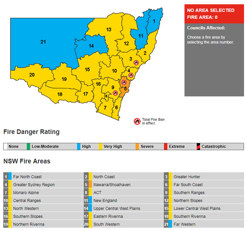 The heatwave-like conditions have prompted the Bureau of Meteorology to issue very high fire danger warnings for most of the state.