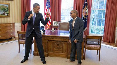 President Obama challenges a shy teenage visitor to a fistfight. (Flickr/White House)