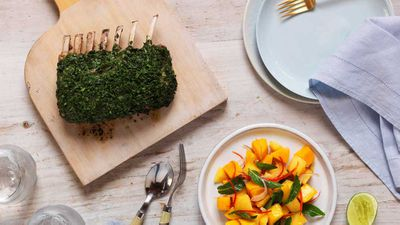 "Recipe: <a href=""http://kitchen.nine.com.au/2017/10/03/10/41/barbecue-rack-of-lamb-with-mango-chilli-lime-salad"" target=""_top"">Barbecue rack of lamb with mango chilli lime salad</a>"