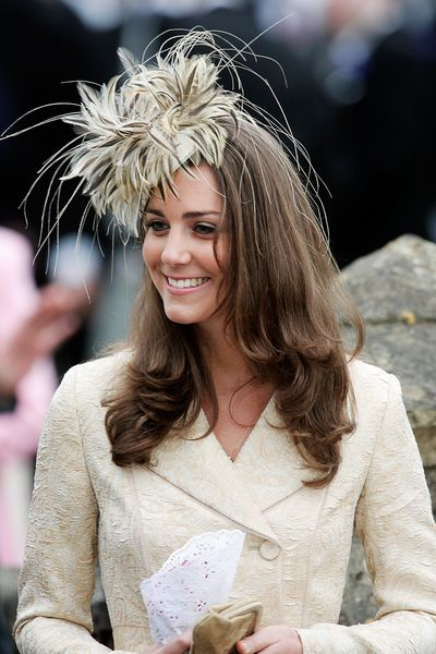 Kate Middleton attends the marriage of Laura Parker-Bowles and Harry Lopes at St Cyriac's Church, Lacock, on May 6, 2006