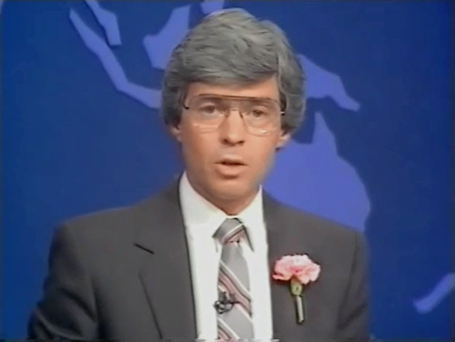 Frank Warrick presenting 9News Queensland in the 1980s.