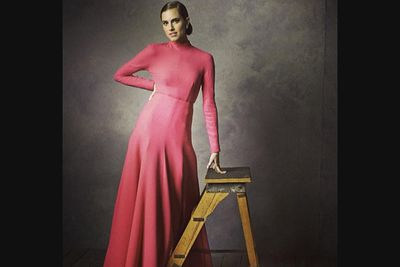 @vfhollywood: @girlshbo star Allison Williams stuns in this pink @emiliawickstead gown. Photo taken by @markseliger in our #oscars portrait studio.