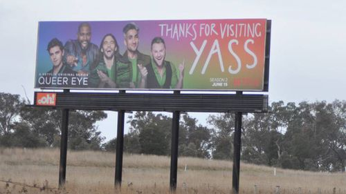 A huge billboard has been erected on the Barton Highway featuring the Fab Five. (Supplied)