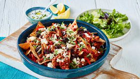 Greek lamb mince nachos