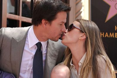 Mark makes out with his wife after getting a star on the Hollywood Walk of Fame.