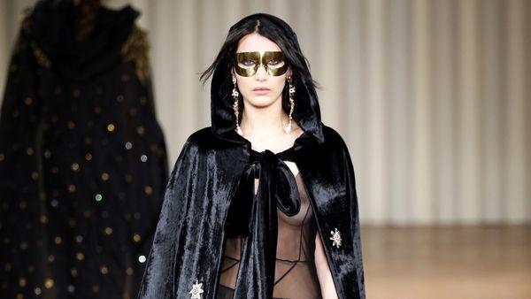 Bella Hadid shows some skin at Milan Fashion Week. Image: Getty.