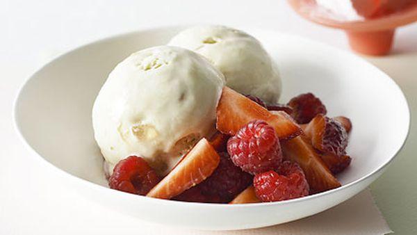 Turkish delight semifreddo with berries