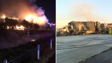 Truck crash Albury: explosion and fire ensues