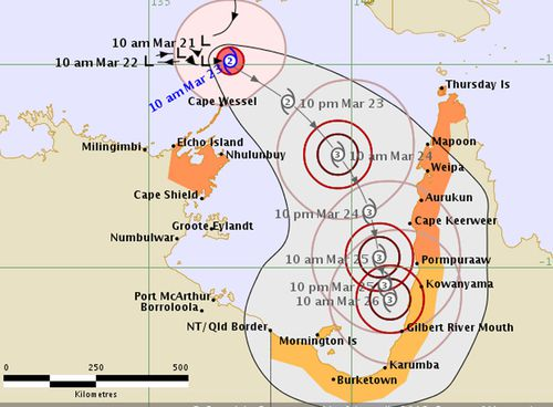 Cyclone Nora's expected path (BOM)