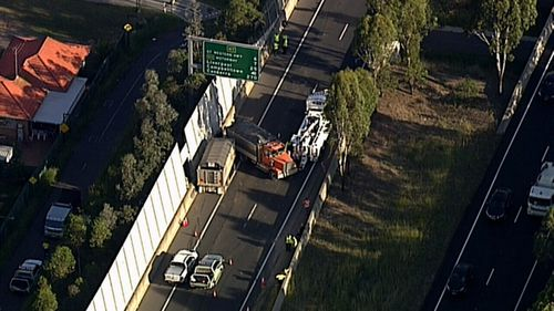 The southbound lanes of the motorway have been closed and detours are in place.