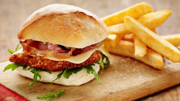 Pork schnitzel burger with Swiss cheese and pancetta