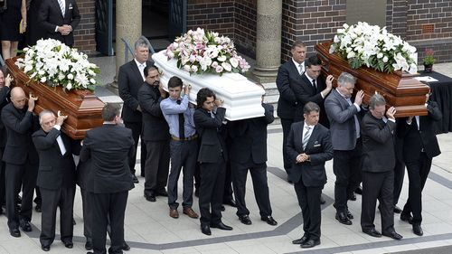 The Falkholt family funeral after the Boxing Day tragedy.