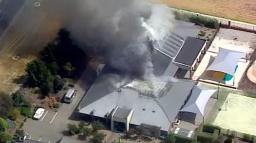 Smoke is billowing from the blaze. (9NEWS)