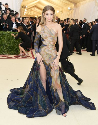 "<br> ""That dress really wore her didn't it?"" said no-one ever. Gigi Hadid in Versace."