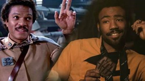 "Hellooo … Billy Dee Williams as Lando Calrissian and Donald Glover as Lando in ""Solo"". (Supplied)"