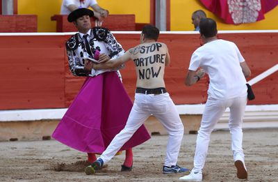 The running of the bulls festival is never short of protesters