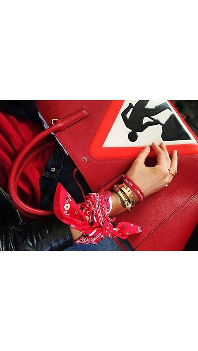 <p>Pernille Teisbaek accessorises for the drive with an Anya Hindmarch tote.</p>