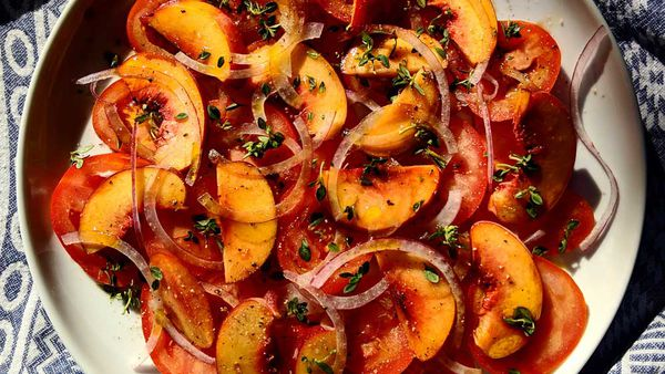 Tomato peach summer salad