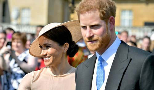 Meghan Markle and Prince Harry attend their first official event as a married couple. (PA/AAP)