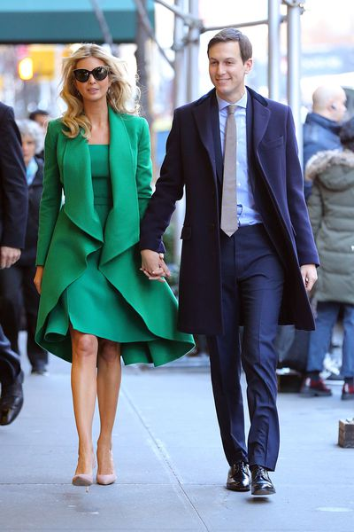 Ivanka Trump in Oscar de la Renta and husband Jared Kushner in New York, January, 2017
