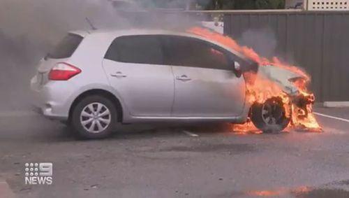 South Plympton car fire