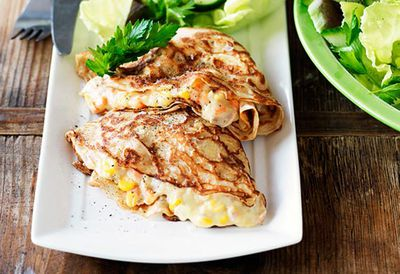 Tuna mornay crepes
