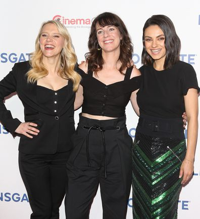 Mila with her 'The Spy Who Dumped Me' co-star Kate McKinnon and director Susanna Fogel