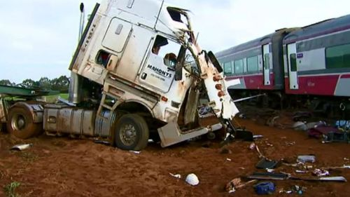 The train and truck collided at the Phalps Road crossing in Pirron Yallock. (9NEWS)