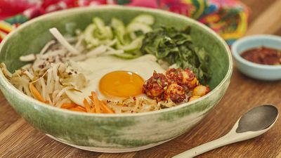 "Recipe: <a href=""http://kitchen.nine.com.au/2017/07/05/14/04/korean-bibimbap-with-macadamia-gochujang-sauce-and-spicy-macadamias"" target=""_top"">Korean bibimbap with macadamia gochujang sauce and spicy macadamias</a>"