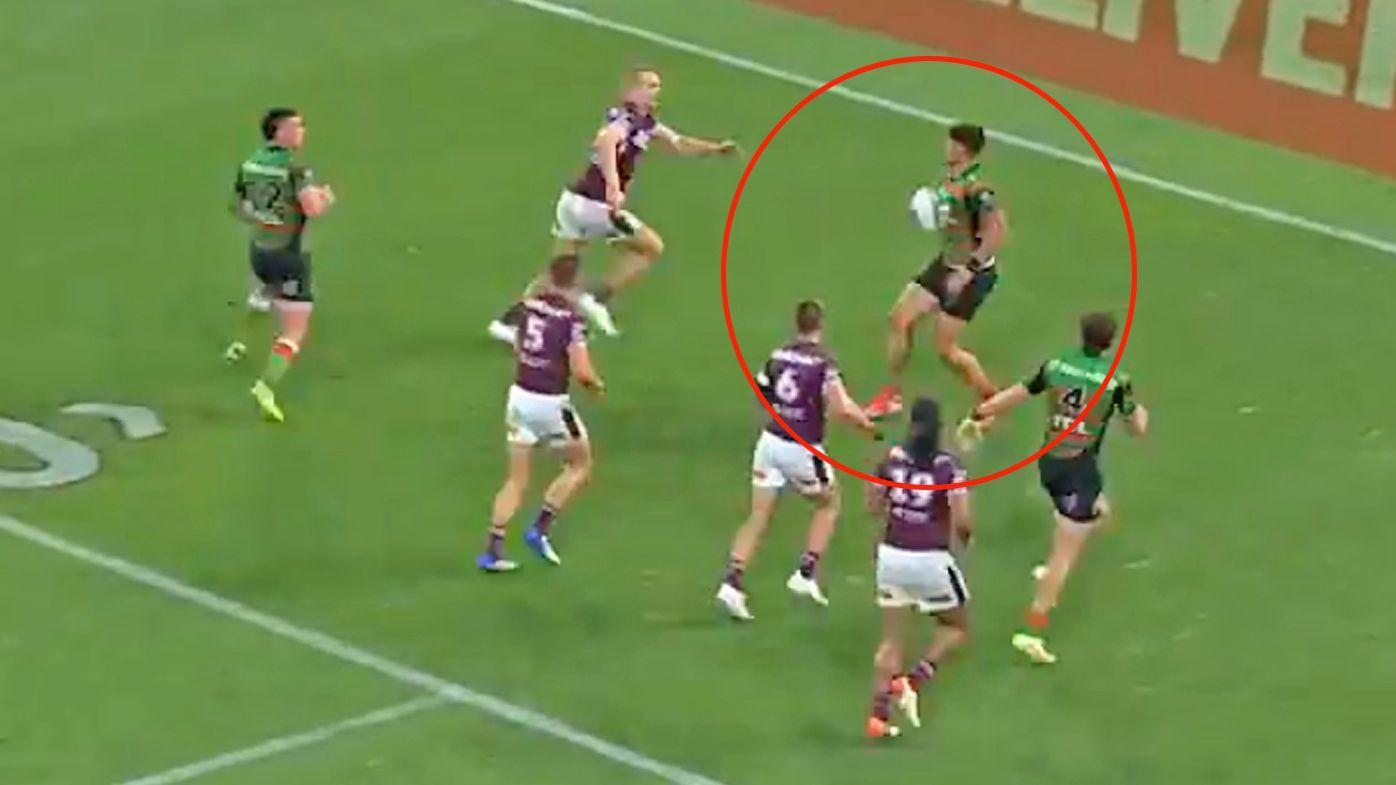 NRL commentators stunned at Jaxson Paulo's 'moonwalk' try in South Sydney Rabbitohs' big win