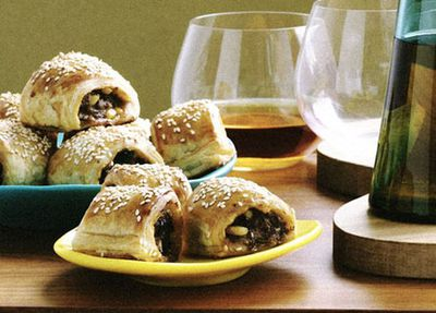 """<a href=""""http://kitchen.nine.com.au/2016/05/19/13/57/lamb-and-harissa-sausage-rolls"""" target=""""_top"""">Lamb and harissa sausage rolls</a><br /> <a href=""""http://kitchen.nine.com.au/2016/12/09/15/51/ultimate-sausage-roll-recipes-gourmet-classic-vegetarian-healthy """" target=""""_top""""><br /> More sausage rolls</a><br /> <br />"""