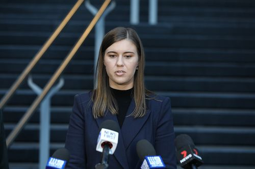 Former Political Staffer Brittany Higgins speaks to the media after meeting with Prime Minister Scott Morrison at the CPO in Sydney