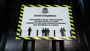 COVID-19 sign, UK