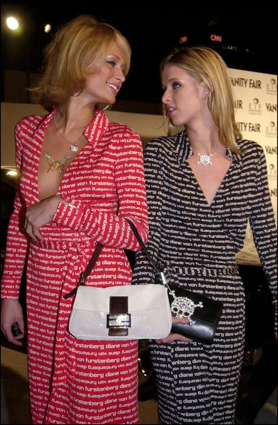 Paris and Nicky Hilton at the first Vanity Fair party before Oscar night in Los Angeles, 2001